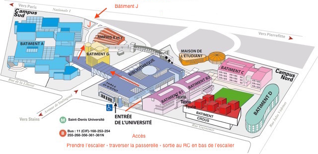 Plan Université Paris 8, bàt. J